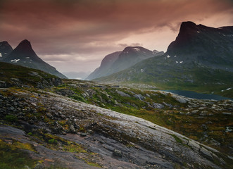 Wall Mural - Beautiful bright amazing pink  in the mountains of Norway, a travel to Scandinavia