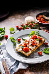 Bruschetta tomato mozzarella breakfast
