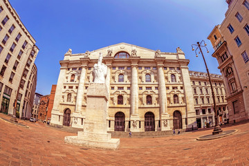 Old photo with Palazzo Mezzanotte, Palace of the Stock Exchange and statue L.O.V.E.