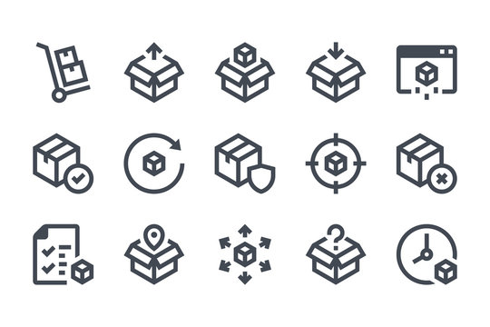 Delivery glyph icon set. Shipping and Logistic filled icons. Distribution solid vector sign collection.