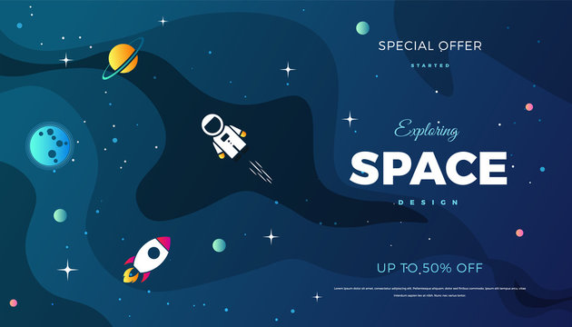 Space exploration modern background design with a Galaxy, Astronaut, Rocket, Moon, Planets and Stars in cosmos. Cute blue color template for website page or banner vector illustration