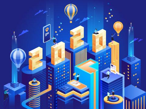 2020 Happy New Year. New digital innovative ideas