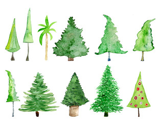 Bäume und Weihnachtsbäume, Aquarell auf Papier