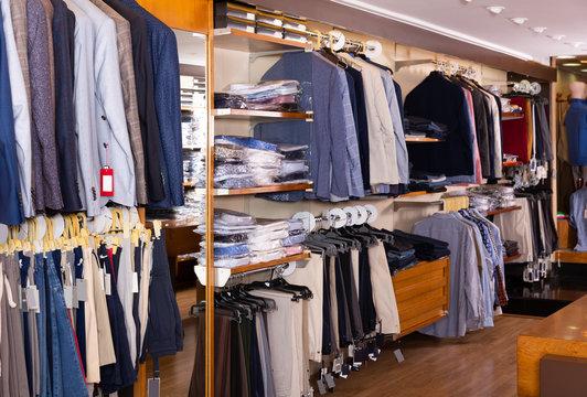 Empty showroom of men clothing store