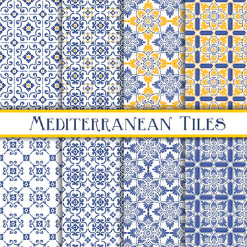 Mediterranean tiles blue and yellow sicily theme