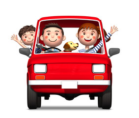 Driving family viewed from the front by 3d rendering