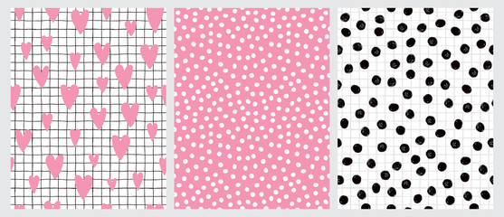 Cute Hand Drawn Irregular Hearts and Dots Vector Patterns. Pink Hearts and Black Grid Isolated on a White Background. Tiny White Dots on a Pink. Black Brush Dots on a White. Funny Infantile Design.