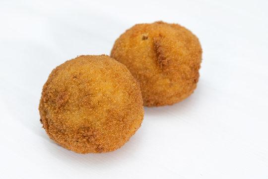 Sicilian Arancino or Arancina. A typical Sicilian street food.