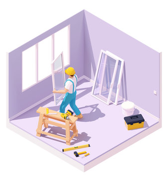 Vector isometric worker at windows installation