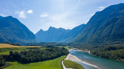 Beautiful nature of Norway. A village on the fjord coast