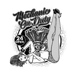 Rockabilly Girl With Engine. Pretty Woman In Bikini Swimwear.