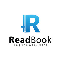Letter R, Read Book logo design template