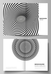 Vector layout of two A4 format modern cover mockups design templates for bifold brochure, flyer, booklet, report. Abstract 3D geometrical background with optical illusion black design pattern.
