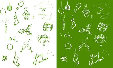 クリスマス素材 手描き 線画