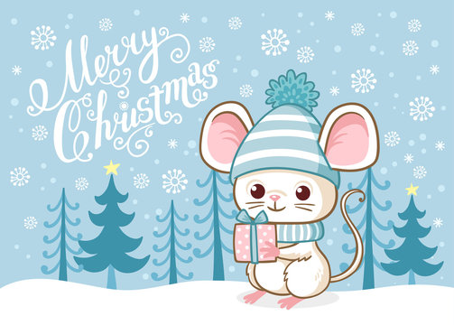 Cute Merry Christmas card with a cute little mouse standing on the snow among the blue forest.