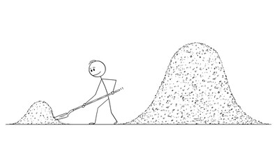 Vector cartoon stick figure drawing conceptual illustration of man or construction worker or builder with shovel shoveling two big piles of dirt or sand. Wall mural