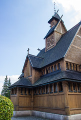 Karpacz, Poland. Wang temple. General view of the wooden church.