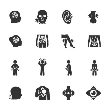 Vector set of pain icons.