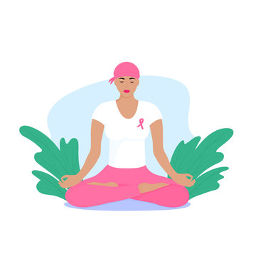 National Breast Cancer Awareness Month. Young woman with a scarf on her head and a pink ribbon on her chest is meditating.