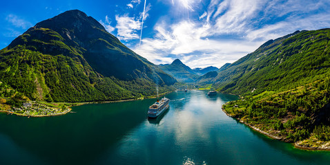 Wall Murals Northern Europe Geiranger fjord, Beautiful Nature Norway.