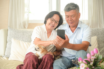 Asian women and men are sitting on the sofa. They are holding a smartphone. They are smiling with a video call.