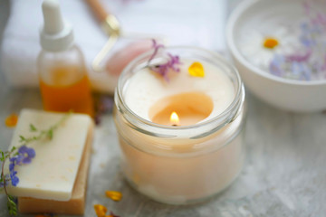 Foto op Aluminium Spa scented spa candle setting composition, selective focus