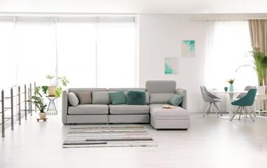 Modern living room interior with comfortable sofa