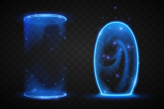 Magic blue portals on transparent background