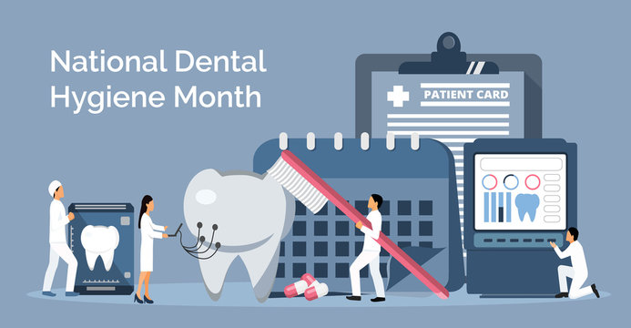 National Dental Hygiene Month celebrated in October. Tiny dentists make x-ray scan of teeth to help toothache
