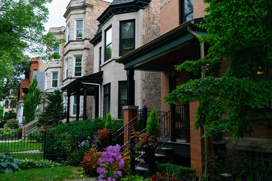 Row of Old Homes in Andersonville Chicago
