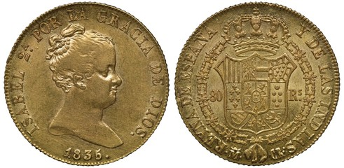 Spain Spanish golden coin 80 eighty reales 1835, head of Queen Isabel II right, coat of arms, crowned shield with tower and lion surrounded by order chain