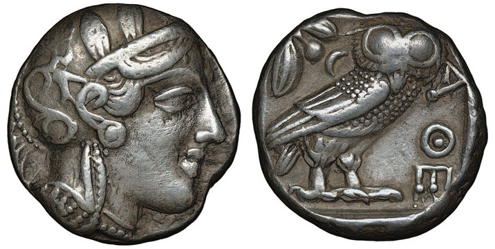 Illyria and Central Greece – Attica silver coin tetradrachm 454-404 BC, helmeted head of Athena right, olive sprig and crescent behind standing owl,