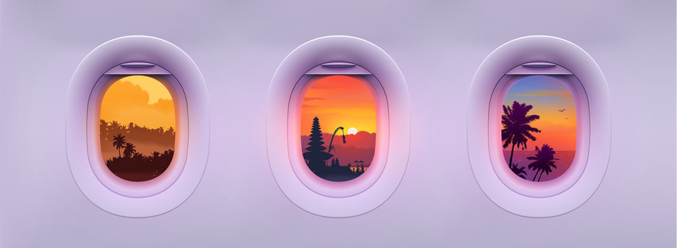 Airplane windows with tropical Bali island landmarks and palm trees colorful views. Editable vector illustration for banners and posters