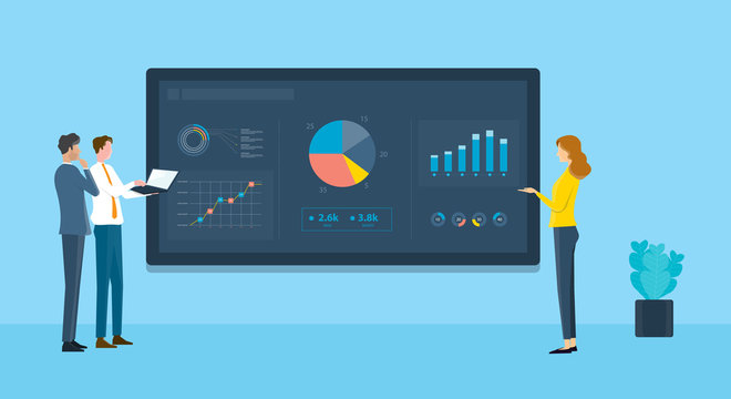 business people analytics  financial  graph report on monitor dashboard concept