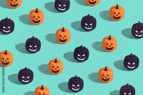 Halloween holiday creative background with jack o lantern glitter pumpkin