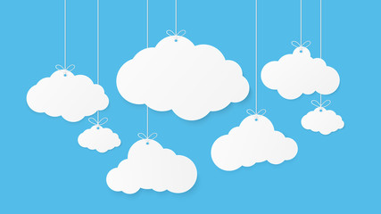 Paper art with cloud on blue sky background. Speech Bubble with white blank hanging. vector illustration