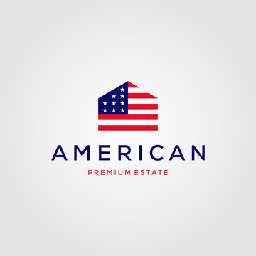 home house american flag real estate logo vector illustration