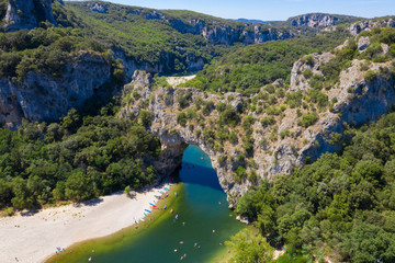 Aerial view of Narural arch in Vallon Pont D'arc in Ardeche canyon in France