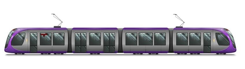 Passenger Tram Train, Streetcar. Modern Urban Tramcar. City Electric transport Isolated on white Fotomurales
