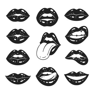 Lips collection. Vector illustration of sexy women's black and white lips, expressing different emotions, such as smile, kiss, half-open mouth, biting lip, lip licking, tongue out. Isolated on white.