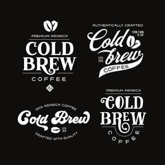 Cold brew coffee labels badges emblems set. Vector vintage illustration.