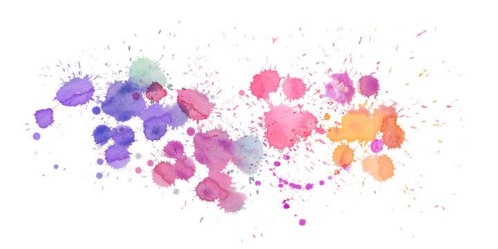 Abstract watercolor splash on white background, watercolor hand paint , pink, blue and yellow
