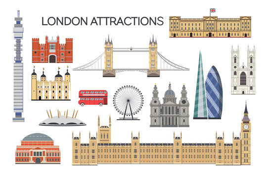 London architecture. Collection of London attractions. Vector set of London city. Travel Untied Kingdom attractions. English architecture flat style illustration