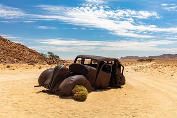 A Bullet-ridden Hudson Terraplane 1934 car in Namibian desert