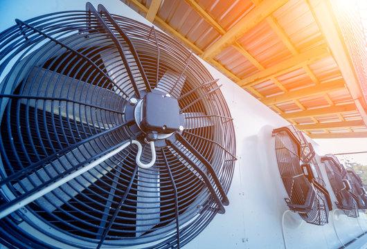 Metal industrial air conditioning vent. HVAC. Ventilation fan.
