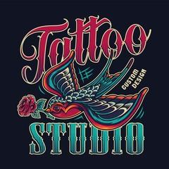 Tattoo studio vintage colorful emblem