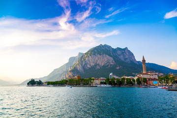 Como Lake shore in Lecco city, Lombardy region, Italy