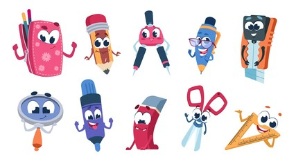 School cartoon characters. Student stationery mascots with smile faces, flat cut collection of funny educational supplies. Vector illustration set happy expressions colorful education objects