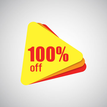 100% off discount offer price tag. Special offer sale yellow and red label on white background
