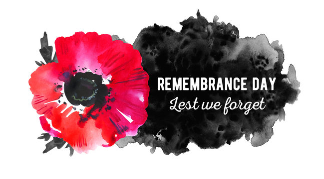Remembrance day design concept. Poppy flower with black spot and title. Hand drawn watercolor sketch illustration